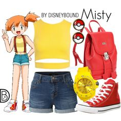 Misty by leslieakay on Polyvore featuring Sans Souci, LE3NO, Converse, Leatherbay, Jet Set and Pokemon