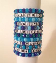 Set of 12 ALL BLUE Kandi Bracelets for EDC Vegas, London, Orlando, Puerto Rico 2014 - Electric Daisy Carnival - Favorite