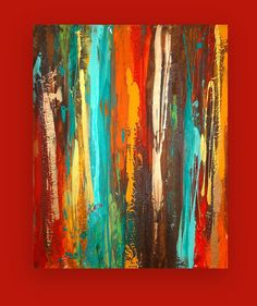 Art Painting Acrylic Abstract Original Titled by OraBirenbaumArt, $285.00 / I would so hang this in my living room. The colors are so vibrant!