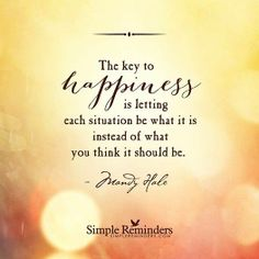 The key to happiness is letting each situation be what it is instead of what you think it should be - Mandy Hale