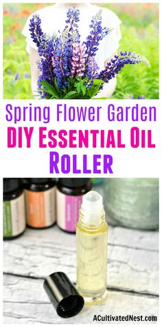 Spring Flower Garden DIY Essential Oil Roller- It's easy to make your own all-natural perfume at home! Here's how to combine a couple of ingredients and create a wonderful smelling spring flower garden DIY essential oil roller! | perfume rollerball, floral perfume, DIY gift ideas, #diybeauty#perfume #essentialoils