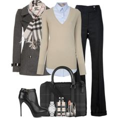 Burberry II (BURBERRY BRIT V neck sweater $475) wouldn't spend that on the sweater, but love this look...