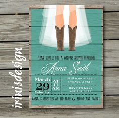 Rustic Country Cowboy Boots Shabby Chic Bridal by irinisdesign, $16.99   bachelorrette party invite?