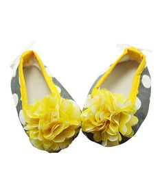 Look what I found on #zulily! Yellow & Gray Polka Dot Crib Shoe by Dress Up Dreams Boutique #zulilyfinds