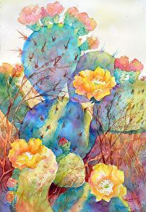 DELIGHTFULLY CACTUS by Mary Shepard Watercolor ~ 21 x 14 image size