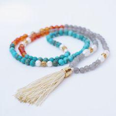 tassel necklace, Mala necklace, Turquoise  semi precious stones, nude pink tassel