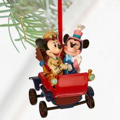 "Disney Store 2016 Mickey Minnie Carriage Sketchbook Christmas Ornament ""Nifty Nineties"" Mickey Minnie Mouse, Natal Do Mickey Mouse, Mickey Mouse Christmas Tree, Disney Christmas Ornaments, Hallmark Ornaments, Disney Mickey, Christmas Decorations, Walt Disney Cartoons, Disney Stores"