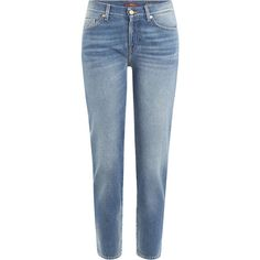 Seven for all Mankind Cropped Jeans ($130) ❤ liked on Polyvore featuring jeans, blue, straight leg jeans, cropped jeans, slim fit blue jeans, 5 pocket jeans and faded jeans
