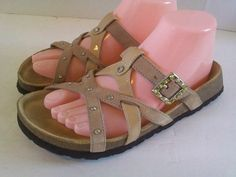 Birkenstock Betula  SLIDE Sandals BROWN Studded Leather Mix Ladies Size 39 US 8  #Birkenstock #Slides
