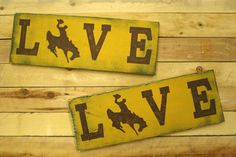 Rustic Sports Sign Mancave Sign Love Wyoming Cowboys Sign Handpainted Sign Handmade Sign Distressed Wood Primitive Wood Yellow and Brown