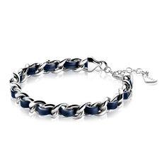 ZINZI zilveren armband gourmet blauw ZIA1095B
