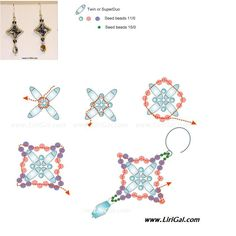 Free Weave Stitching Beaded Bead Pattern Tutorials Earrings