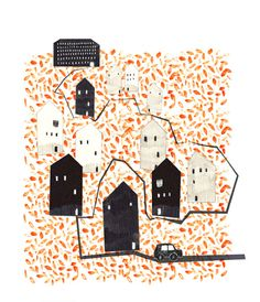 Orange Village Illustration Print by afrois on Etsy