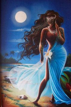 African Goddess Yemaya - Divine over the seas Black Love Art, Black Girl Art, Art Girl, African American Art, African Art, Yemaya Orisha, Yoruba Orishas, African Goddess, Hawaiian Art