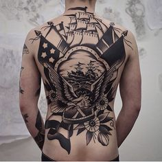 Sailor Jerry Awesome Mens Back Tattoos With Ship And Eagle Tattoos 3d, Forearm Tattoos, Body Art Tattoos, Sleeve Tattoos, Great Tattoos, Ship Tattoos, Tatoos, Awesome Tattoos, Navy Tattoos
