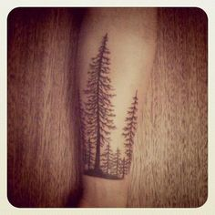 Pine Forest Tattoo- I just love this type of tatto. They're ridiculously cute.