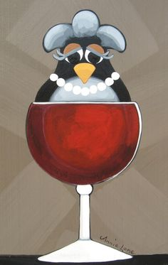 """A Full Body Birdeaux"" Whimsical Bird in Wine Glass Art, Painting by Annie Lane"
