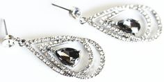art deco gray grey clear crystal swarovski rhinestone by sestras, $32.90