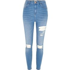 River Island Blue wash Lori high rise ripped skinny jeans ($50) ❤ liked on Polyvore featuring jeans, distressed jeans, ripped denim jeans, destroyed skinny jeans, super skinny jeans and high-waisted jeans