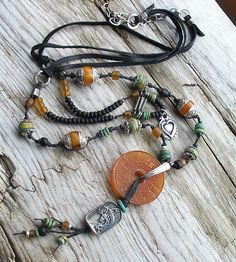 The Cerebral Dilettante: leather, amber, turquoise and silver