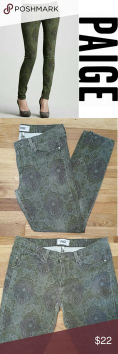 """Paige Green Paisley Denim Pant Paige Denim.   Green Paisley Print.  Wear to knees. Slight wear to backside. Distressed. Priced accordingly.  No wear to leg openings  Size 32.   Measurments: 29"""" inseam 17"""" across at top 5 1/2"""" opening at bottoms of legs  Comment for additional information. PAIGE Pants Ankle & Cropped"""