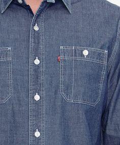 Detail Levi's Stock Workshirt bluegray slub denim shirt