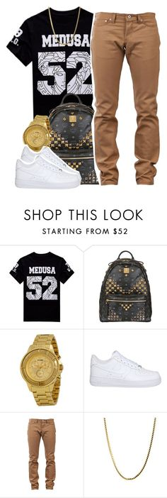 """Untitled #1330"" by lulu-foreva ❤ liked on Polyvore featuring Versace, MCM, Versus, NIKE and Naked & Famous"