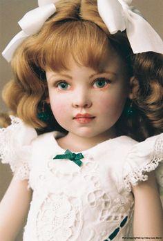 For St. Patrick's Day 2014, a story in pictures of Irish dance, Kish Seasons doll, Irish lass Colleen, repainted by portrait artist Nancy Lee Moran in 2009, new custom Irish shamrock dress