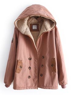 Dark Pink Hooded Long Sleeve Buttons Velvet Coat - Sheinside.com