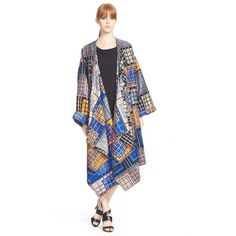 Tracy Reese PlaidBlanket Coat featuring polyvore, fashion, clothing, outerwear, coats, multi, plaid coat, tracy reese coat, oversized coat, white coat and shawl collar coat
