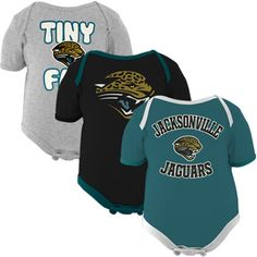 Jacksonville Jaguars Infant 3-Pack Tiny Fan Creepers - Teal/Black/Ash