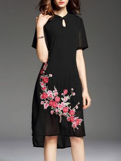 Embroidered Asymmetrical Short Sleeve Stand Collar Vintage Midi Dress