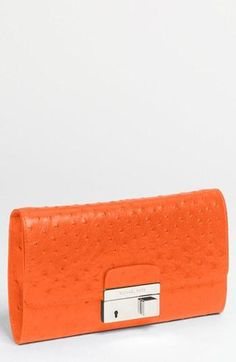 Bright! Michael Kors Ostrich Embossed Leather Clutch