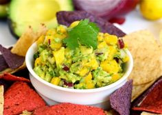 "Avocado Mango salsa.  I love recipes where the instructions are: ""put in bowl. the end"""
