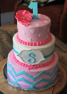 Pink and Turquoise Birthday Cake By The Cake Artist