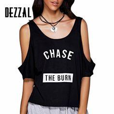 DEZZAL Brand Harajuku Letter Print Off the Shoulder Tops for Women T Shirt Femme…