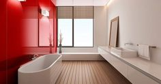 Very sleek and contemporary high gloss acrylic wall panels make a wow statement for a bathroom or shower wall. This image shows the red rouge color. These walls are less expensive and easier to work with than back painted glass. Kitchen Wall Panels, Bathroom Wall Panels, Shower Wall Panels, Bathroom Wall Decor, Bathroom Interior Design, Wall Tiles, Bathroom Ideas, Bathroom Paneling, Bathroom Red