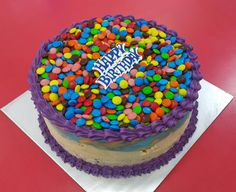 Cold Rock ice cream birthday cake topped with your favourite mini M&Ms :-) All cakes made fresh in store daily