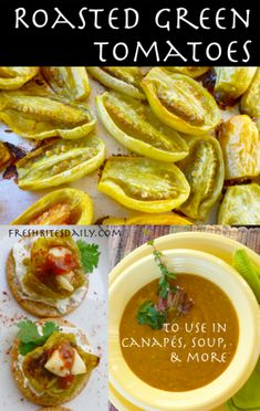 Roasted green tomatoes are not pretty but they'll knock your socks off! Real Food Recipes, Great Recipes, Cooking Recipes, Healthy Recipes, Food Tips, Healthy Foods, Food Ideas, Green Tomato Recipes, Vegetable Recipes
