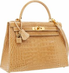 Luxury Accessories:Bags, Hermes 28cm Shiny Poudre Alligator Sellier Kelly Bag with GoldHardware. ... Image #1