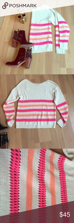 Nasty gal sweater Light weight pink and orange striped sweater purchased from nasty gal. Only worn once! Really good condition no damages! Supper cute for the summer or spring Nasty Gal Sweaters Crew & Scoop Necks