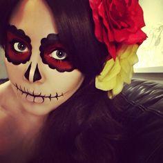 #sugarskull #makeup #photooftheday #photography #iphoneonly #brunette #skull #flowers #hair #tattoo - @luciferismydad- #webstagram