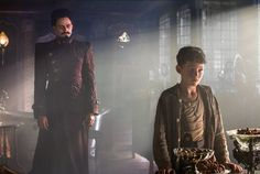 Still of Hugh Jackman and Levi Miller in Pan (2015)