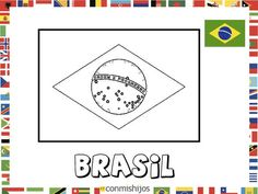 Bandera de Brasil. Dibujos de banderas para pintar