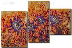 Quadro Festa dei fiori - dipinti e stampe su tela - quadri con fiorisu bimago.it // Painting with abstract flowers in orange and blue canvas art