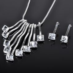 Factory Cheap Price Silver Rhinestone Necklace Set In Yiwu