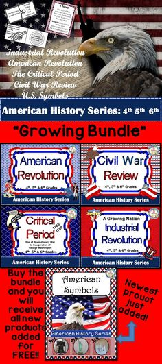 """$ """"Growing American History Bundle""""! This product has 5 separate products right now. Buy the bundle and receive all new products added for FREE!! 3rd - 6th grades (see individual products)"""