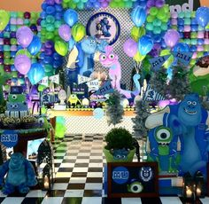 101 fiestas: Fiesta tematica de Monster inc Monster Inc Birthday, Monster 1st Birthdays, Monster Inc Party, 1st Birthday Decorations, 1st Birthday Parties, Monsters Inc 3, Monster University Party, Monster Baby Showers, Mickey Mouse Birthday Cake