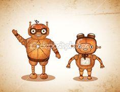 Hipster friendly robots — Stock Illustration #36758693