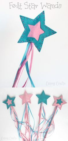 Felt Star Wands - Cutesy Crafts - - These kids' star wands are perfect for birthday parties, dress up, and more! This tutorial shows how to make them. Source by modpodgerocks Sewing For Kids, Diy For Kids, Crafts For Kids, Felt Crafts, Diy And Crafts, Arts And Crafts, Lauras Stern, Kids Dress Up Costumes, Star Wand